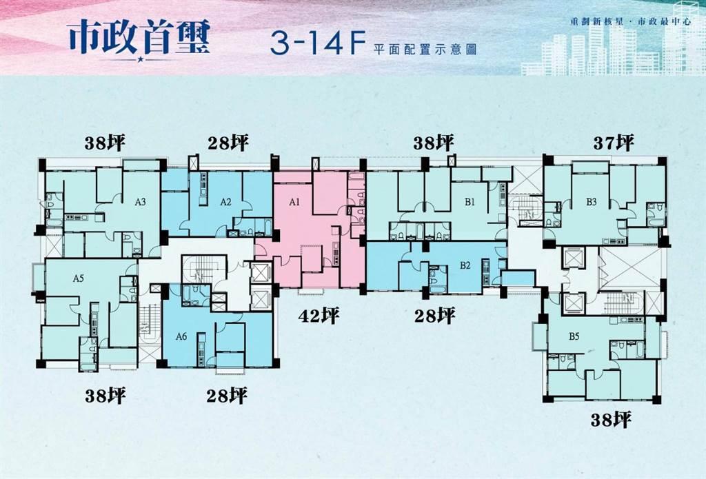 市政首璽標準層平面圖