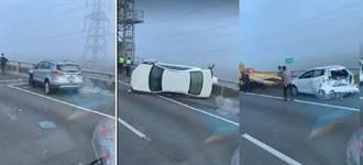 國道3號4車連環大追撞 車況慘烈幸無人傷亡