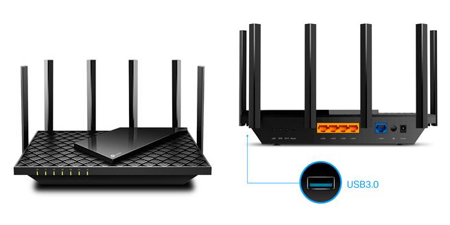 TP-Link推出全新Archer AX73 Wi-Fi 6 AX5400雙頻無線路由器的機身前後設計。(TP-Link提供/黃慧雯台北傳真)