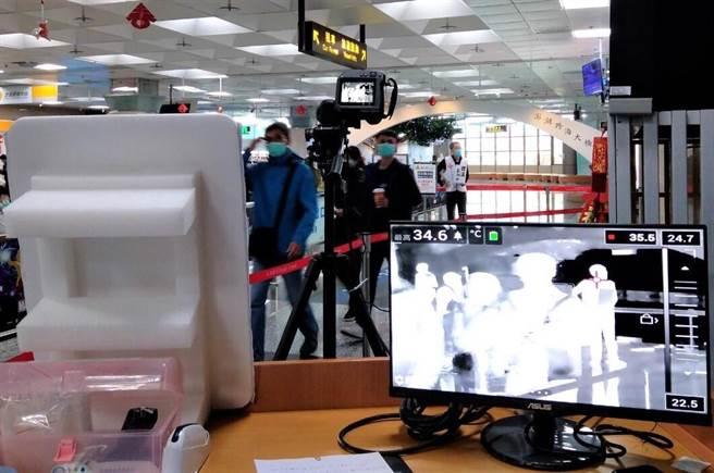 澎湖防疫超前部署,去年率先全國在澎湖機場、馬公港裝設紅外線體溫監測儀。(陳可文攝)