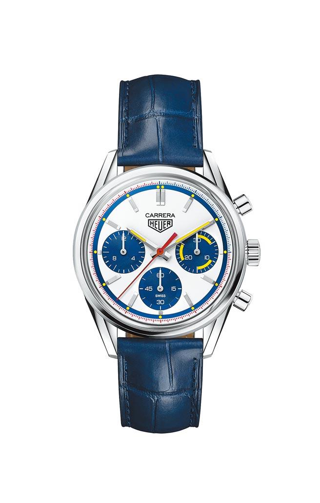 泰格豪雅Carrera Heuer 02自動計時腕表160週年Montreal限量版,22萬2100元。(TAG Heuer提供)
