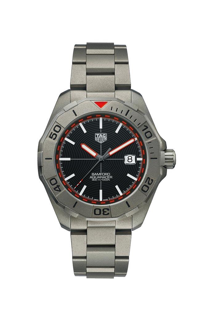 泰格豪雅Aquaracer Bamford 聯名限量腕表,12萬7900元。(TAG Heuer提供)