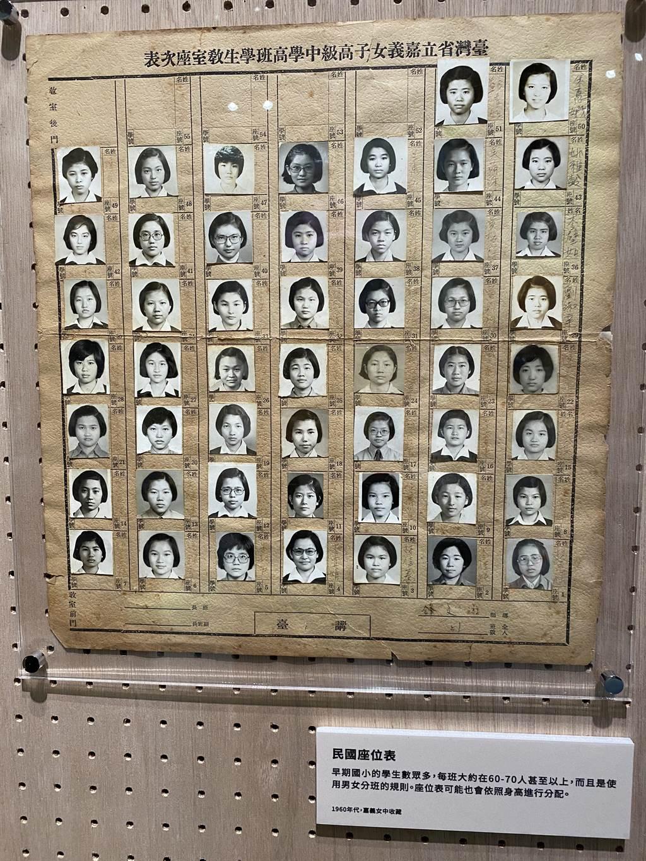 1960年嘉義女中的學生座位表都附有學生照片。(廖素慧攝)
