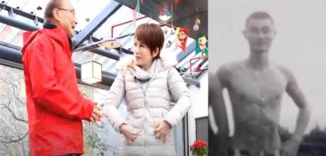 馮世寬帶陳雅琳逛武陵農場,右為馮世寬年輕時期八塊肌照。(圖/壹電視提供)