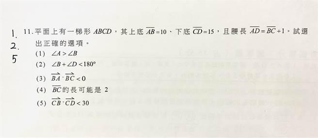 數學考科第11題最後一個選項讓該題難度提升。(Campus編輯室攝)