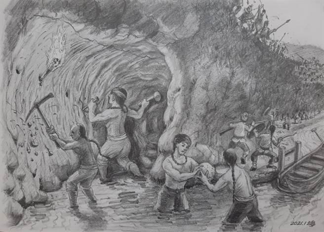 當年大坪林五庄墾戶接手開鑿石硿。(臉書《留下最後的十四張》粉專提供)