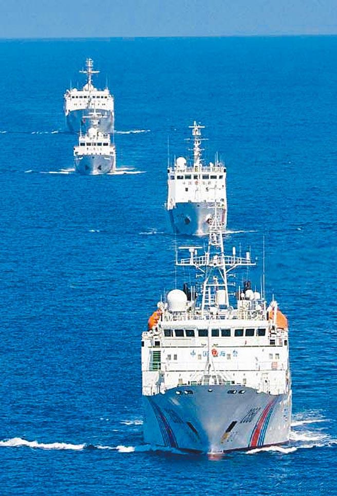 大陸海警船2018年7月巡航釣魚台海域。(摘自中國海警局)