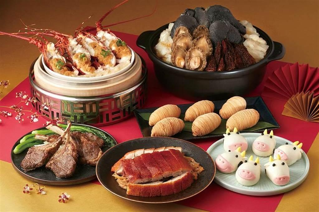 鎖定四人小家庭,台北喜來登大飯店「辰園」粵菜餐廳推出「五福祥瑞」外帶組合餐。(圖/台北喜來登飯店提供)