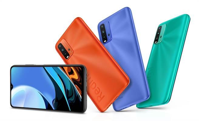 Redmi 9T(4GB+64GB)提供碳纖灰、暮光藍、日出橙和海洋綠四種顏色,售價為新台幣$4,699元。(小米提供/黃慧雯台北傳真)