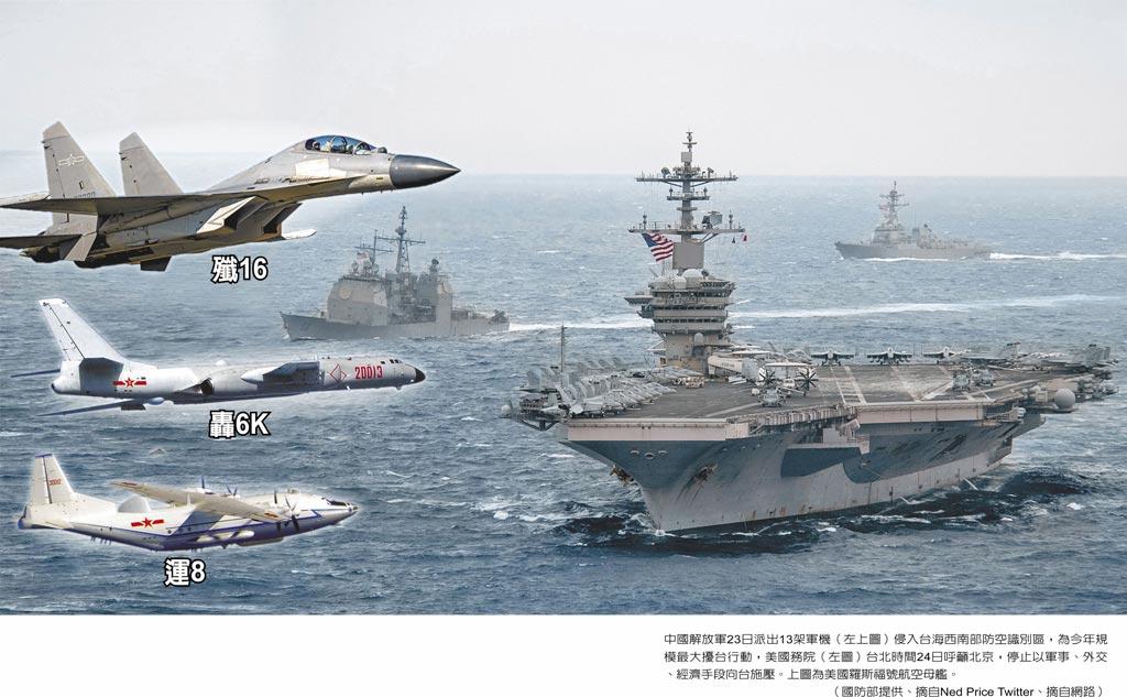 中國解放軍23日派出13架軍機(左圖)侵入台海西南部防空識別區,為今年規模最大擾台行動,美國務院台北時間24日呼籲北京,停止以軍事、外交、經濟手段向台施壓。(右圖)為美國羅斯福號航空母艦。(國防部提供、摘自網路)