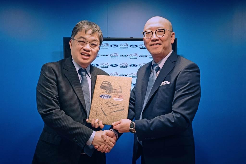 麗寶渡假區副董事長陳志鴻(右)與福特六和汽車營銷服務處副總經理蘇嘉明正式確認合作意向。