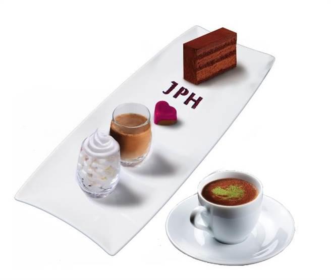 台北101「JPH貴賓101獨家禮遇 新春頂級巧克力奢華套餐套餐」,可喝到獨有的京都抹茶禪風熱可可,880元+10%。(台北101提供)