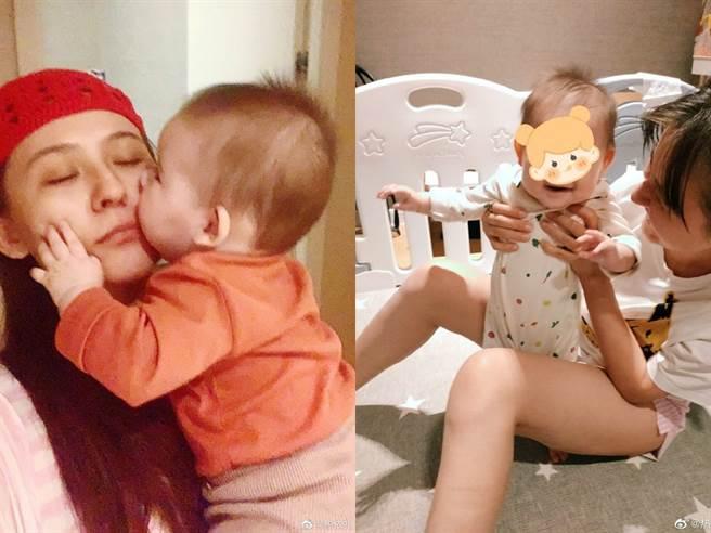 熱依扎生下女兒後,時不時會曬娃分享喜悅。(圖/微博@熱依扎)