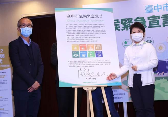 台中市長盧秀燕(右)日前在綠色和平基金會見證下,簽署氣候緊急宣言,呼籲中央地方攜手打造台中無煤城市。(陳世宗攝)