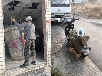 超狂小偷用機車拖2噸重水塔 目擊者活逮笑稱:高手在民間