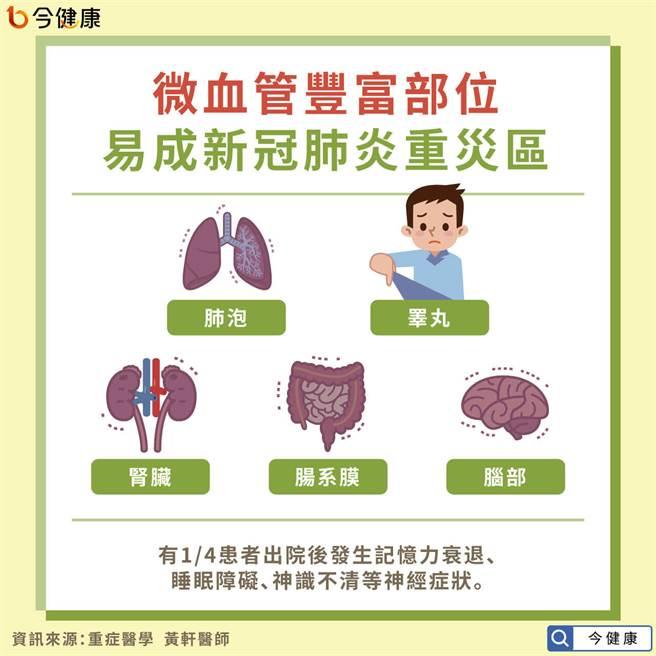 肺泡腎臟腦部 微血管豐富部位成重災區。(圖/今健康提供)