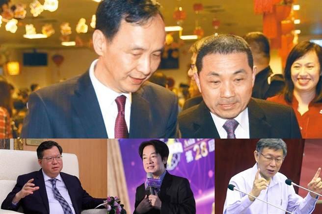 2024总统候选人可能人选包括新北市长侯友宜(上右)、前新北市长朱立伦(上左)、桃园市长郑文灿(下左)、副总统赖清德(下中)、台北市长柯文哲。(合成图/资料照)