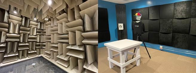 Google Tpark辦公室3F聲學實驗室(無響室與聆聽室(右))。(黃慧雯攝)