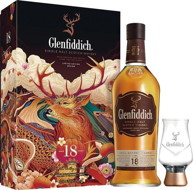 家樂福「格蘭菲迪18年單一麥芽威士忌」禮盒,售價:1,749元。圖/業者提供