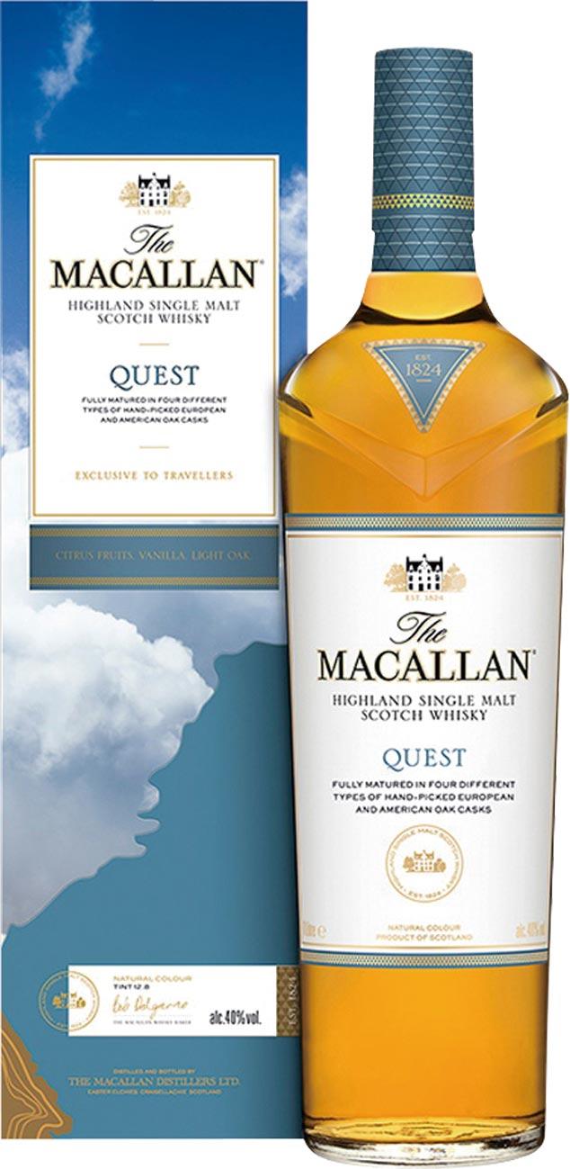 愛買量販獨家販售「麥卡倫QUEST藍天單一麥芽威士忌」1,000ml/瓶,原價:1,599元、特價:1,299元。圖/業者提供