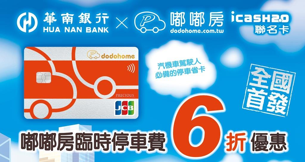 華南銀行與嘟嘟房共同發行「嘟嘟房聯名卡」,推出臨停6折優惠。圖/華銀提供