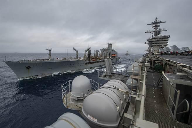 美軍羅斯福號航母戰鬥群在拜登就職之際駛進南海,數日內大陸宣布在南海進行軍事演習,外界認為雙方將在南海持續對抗意味很重。圖為羅斯福號(右)在南海接受補給船艾利克森號(左)補給。(圖/美國海軍)