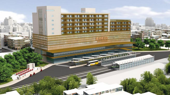 集公车站、旅馆、商场及停车场于一身的鹿港转运站,兴建完成后,将成为当地指标性建物,图为模型图。图/彰化县政府提供