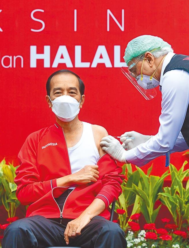 以色列的辉瑞疫苗接种者打第2剂后,感染比率仅万分之1点多。而印尼总统佐科(左)27日则在总统府接种第二剂中国科兴公司的新冠疫苗。(新华社)