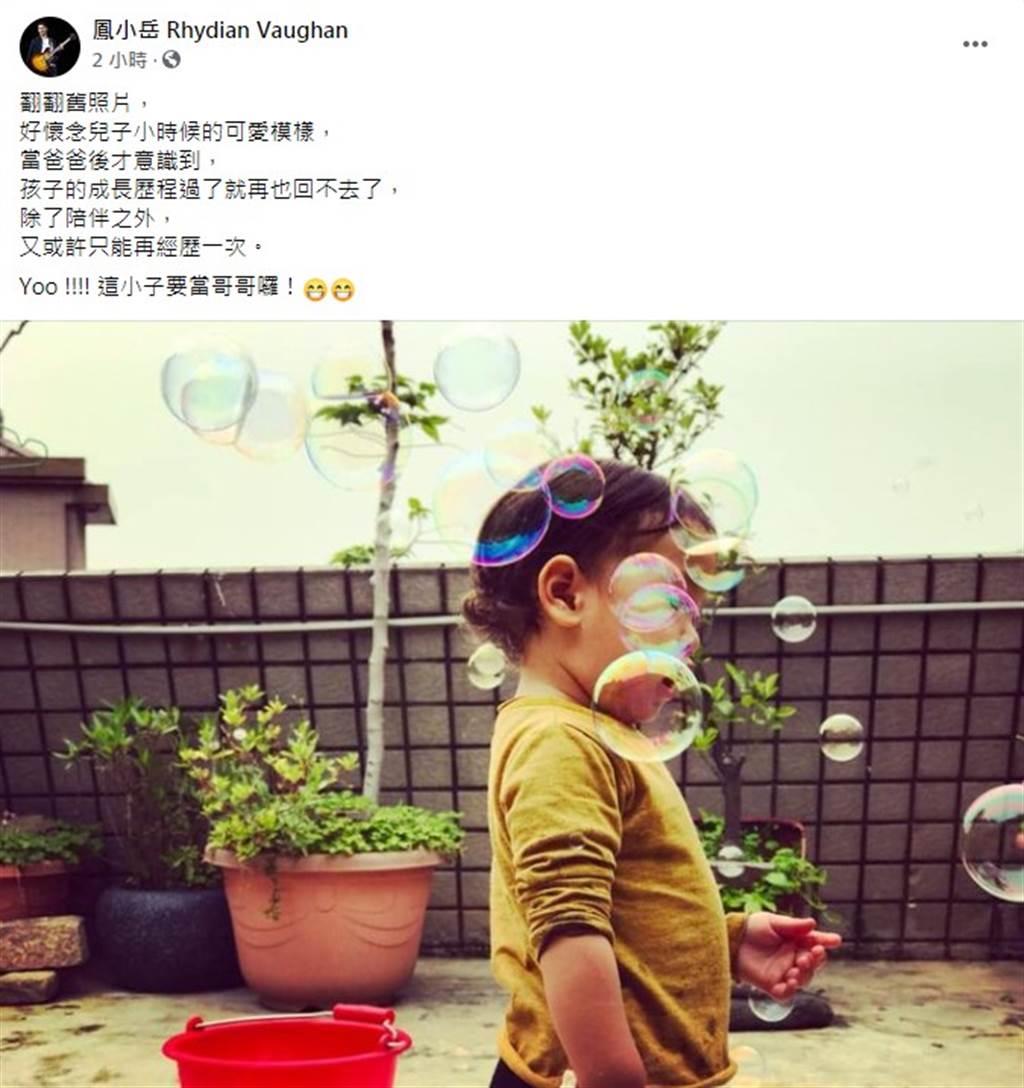 鳳小岳31日在臉書宣布老婆懷第二胎。(圖/FB@鳳小岳)