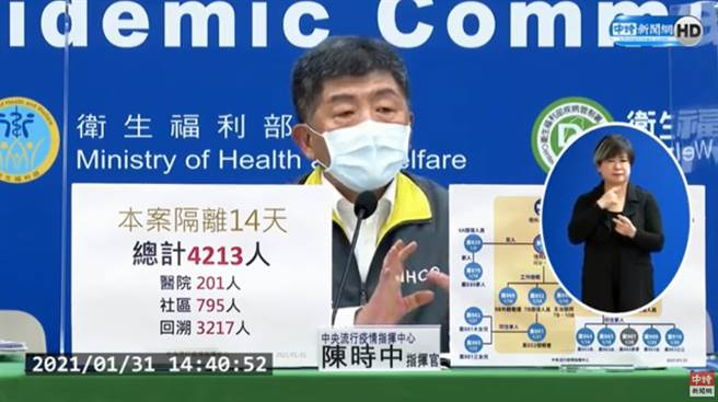 案863護理師一家7口6人染疫,陳時中:想到第一位病人。(圖/截自中時新聞網直播)