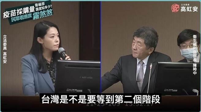 台灣民眾黨立委高虹安(左)、衛福部長陳時中(右)。(圖/翻攝自 高虹安臉書)