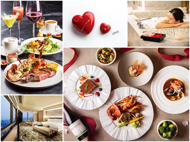 雖然西洋情人節遇上大年初三,飯店已早早企畫各式餐飲與住房套裝方案,搶攻浪漫商機。圖/台北晶華、新板希爾頓、台北文華東方、西華飯店提供