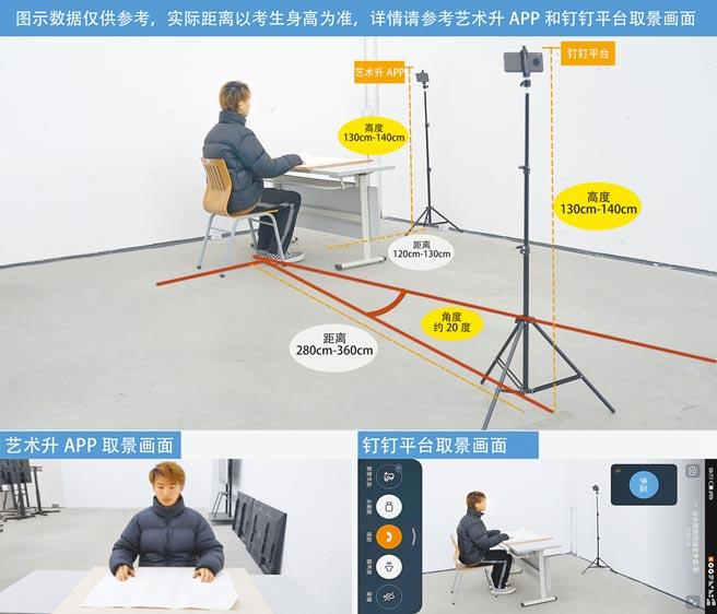 大陸中國美術學院遠距術科考試採取「兩台手機全程錄影」同步方式,整套流程就可謂滴水不漏。(摘自中國美院官網)