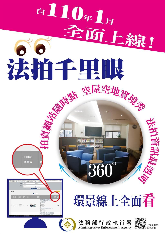 行政執行署即日起提供「法拍千里眼」線上服務,民眾遠距看屋很方便。(行政執行署提供)