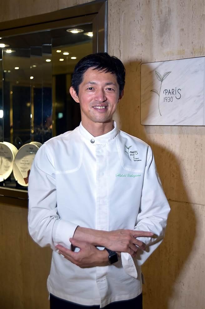 高山英紀為了台北亞都麗緻飯店的聯名餐廳〈巴黎廳1930 X 高山英紀〉,親自飛來台灣並關了「14+7」天後「出閘」設計全新套餐菜式。(圖/姚舜)