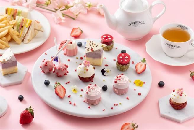 URBAN331即日起至3月31日止推出「莓好時光 雙人午茶980元+10%」,幻化成粉色花園引人探索。(慕軒飯店提供)