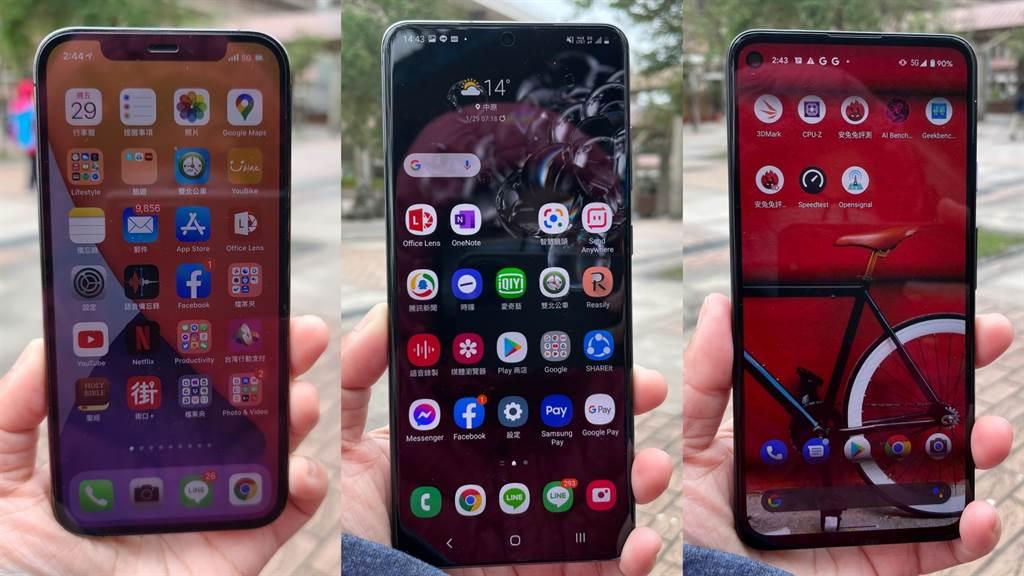 iPhone 12 Pro、三星Galaxy S20 Ultra、Google Pixel 4a 5G是5G測速專題使用的5G手機。(黃慧雯攝)