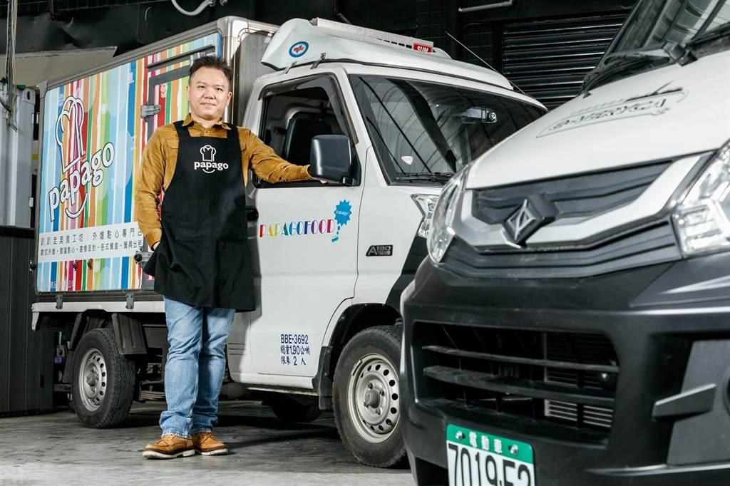 趴趴走美食工坊擁有18台菱利,老闆張鑑弘透過車電分離租賃方案,陸續添購2台e-VERYCA。