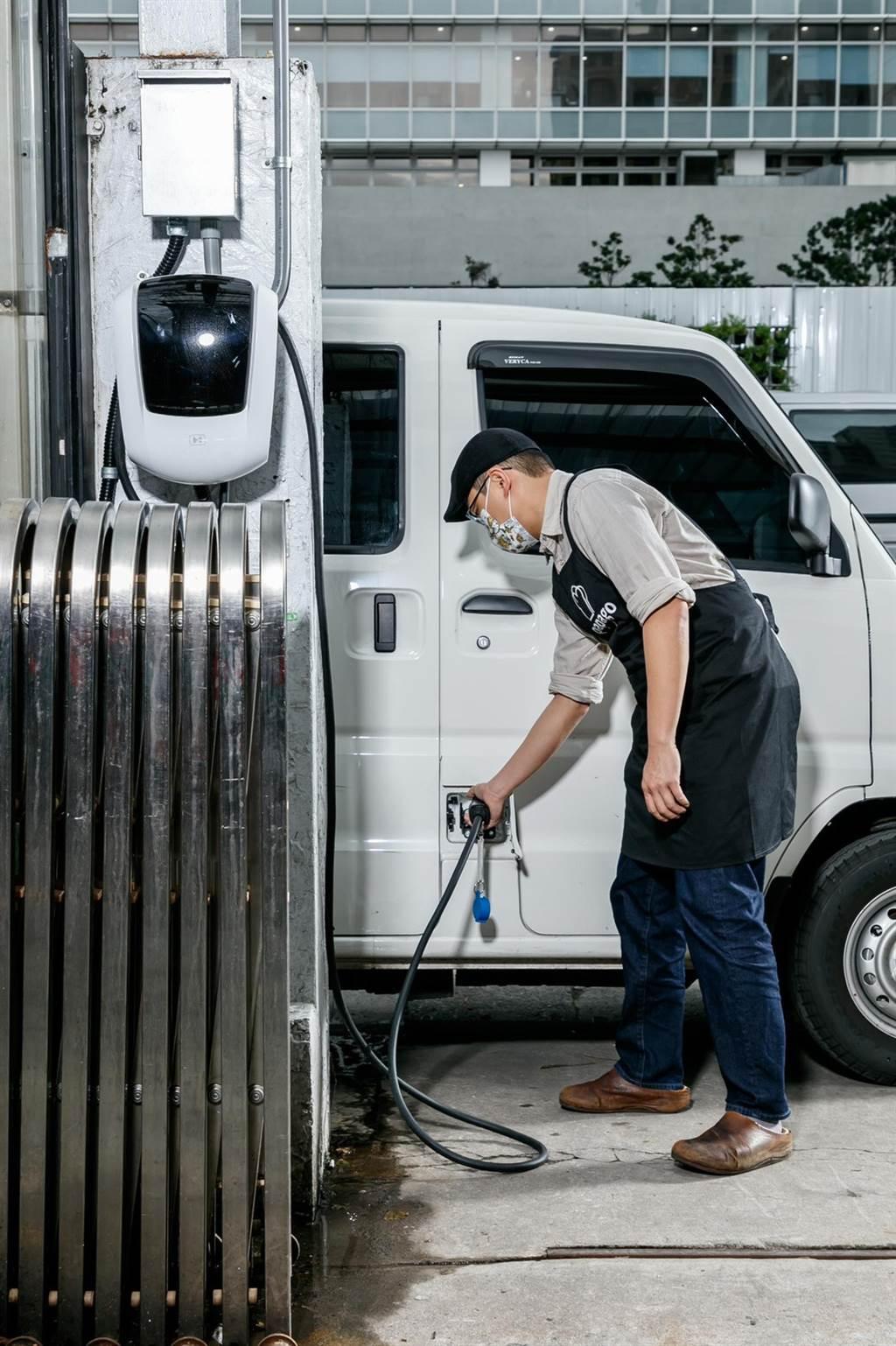 e-VERYCA菱利電動車採用與BMW同等級Samsung SDI 電池,透過壁掛充電器便利充電。