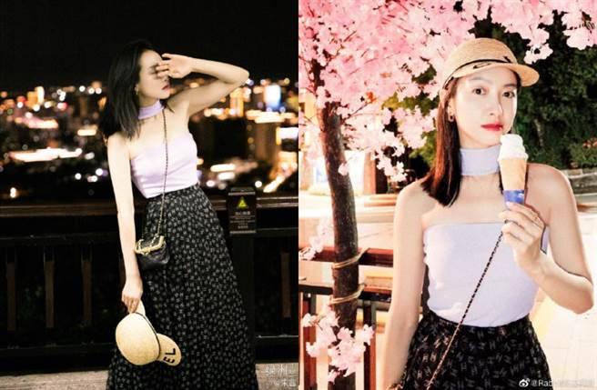 宋茜穿上一套香芋紫色的平口抹胸上衣,搭配輕盈的黑色紗質長裙,整體穿搭甜美又有氣質。(圖/摘自微博@宋茜)