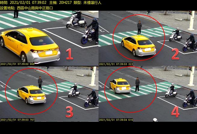 嘉市火車站前科技執法,汽車行經行人穿越道未停讓行人先行亦是取締重點。(嘉義市警察局提供∕呂妍庭嘉義傳真)