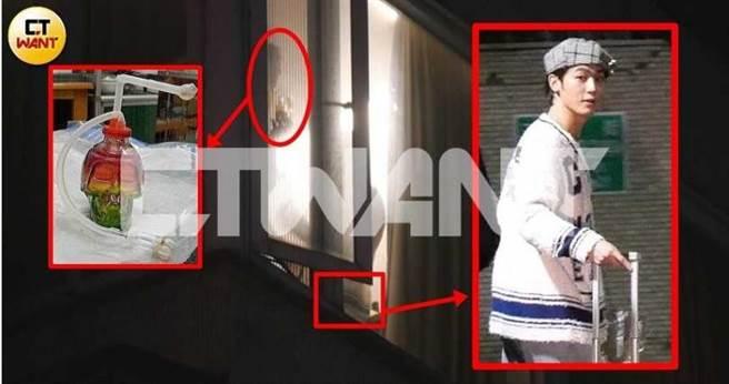1月22日晚間10點38分,本刊從小樂住家窗戶拍到小樂的友人正在吸抽疑為吸毒用具的「水車」(左,紅框為示意圖),而從右邊影中人的衣角可以比對出,正是稍早從大安區回家的小樂(右)。(圖/本刊攝影組)