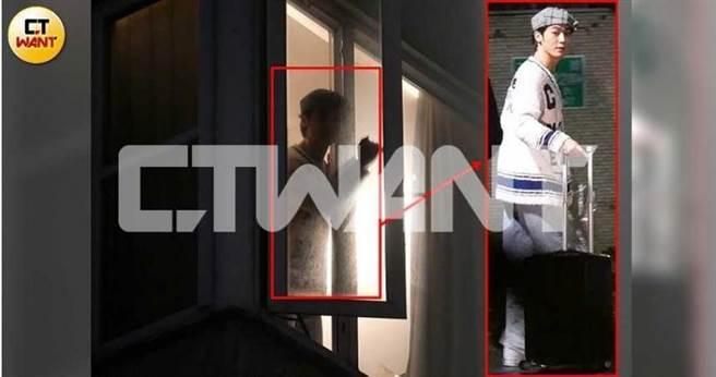 1月22日晚間10點45分,本刊拍到小樂忽然從住家窗戶探出頭,謹慎的左右察看後將窗戶關起來,裝扮與早先在大安區被本刊跟拍時(右紅框)一模一樣。(圖/本刊攝影組)