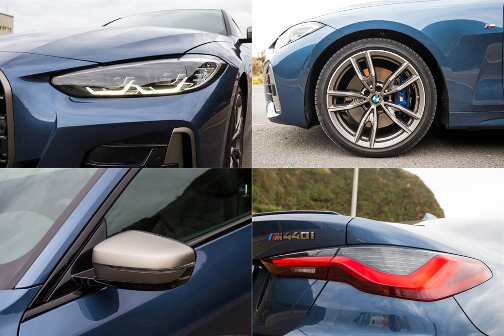 車身多處採用鈰灰色點綴,輪圈亦是M款792雙幅式搭配M款藍色煞車卡鉗,凸顯其經M部門調校的地位,而LED頭尾燈設計概念源自旗艦跑車8系列,M440i比起另外兩車型還新增遠光燈輔助功能。(陳彥文攝)
