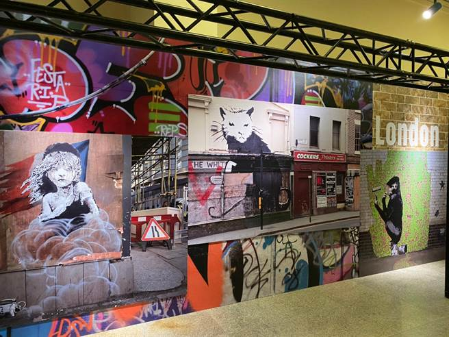 Banksy有經典的塗鴉、複印和設計專輯等代表作,而題材總是圍繞著宣戰與對立,充斥爭議的創意讓他成為當今最具爭議性及代表性的街頭藝術家。(Campus編輯室攝)