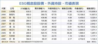 ESG錢潮 帶旺台股十強