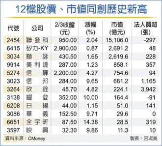 12檔旺 股價市值齊登頂