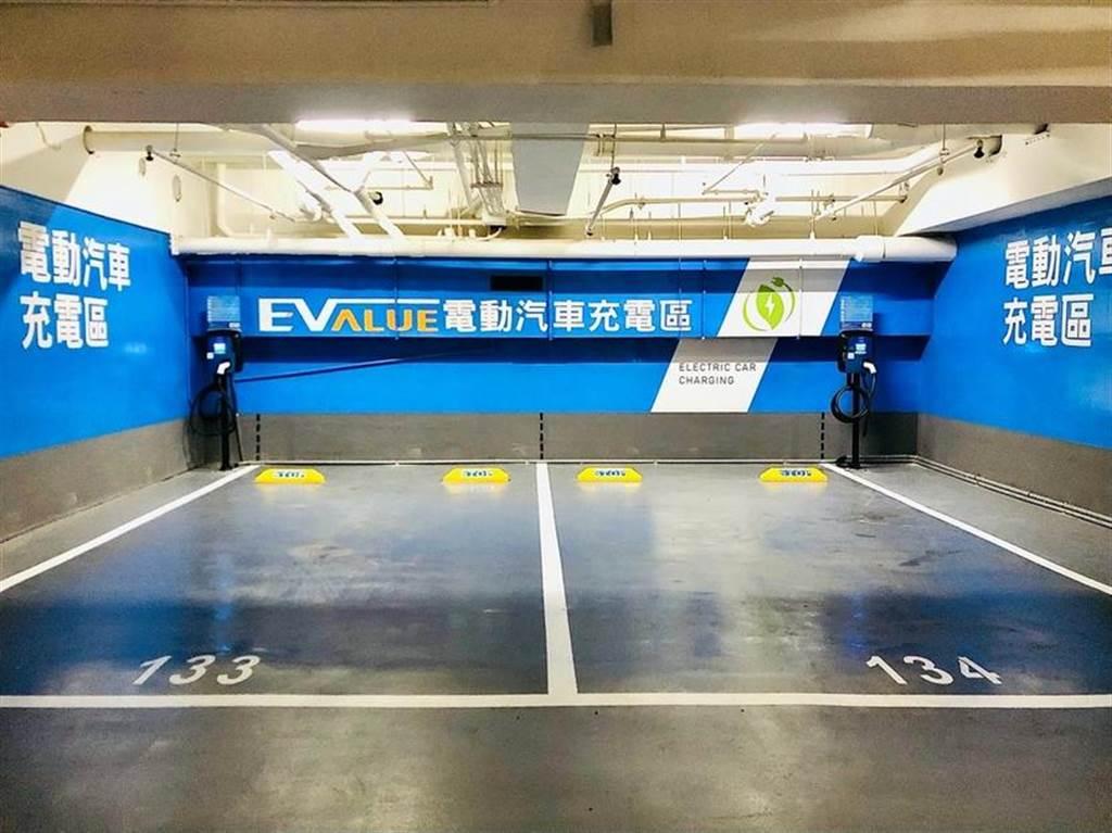 雖然停車場場域稍暗,但看到藍色背景很快就可找到 EVALUE 充電樁。
