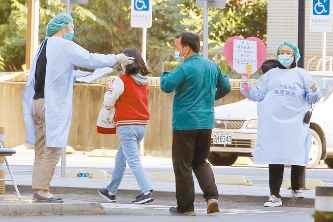 桃醫院內群聚事件日前已啟動清零計畫,針對2088名醫護人員、外包商進行PCR採檢,其中高風險族群7百多人另需抽血檢查。4日為第2天人潮已不如首日,但上午仍可見停車場外排滿人潮。(陳麒全攝)