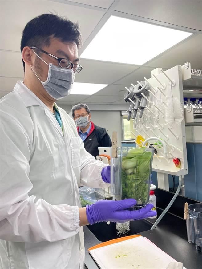 批發市場蔬果農藥添加物殘留,以全新技術替民眾把關。(北市市場處提供/吳康瑋台北傳真)
